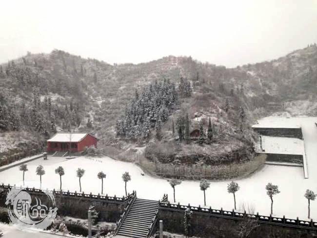武当师行功夫馆迷人的雪景
